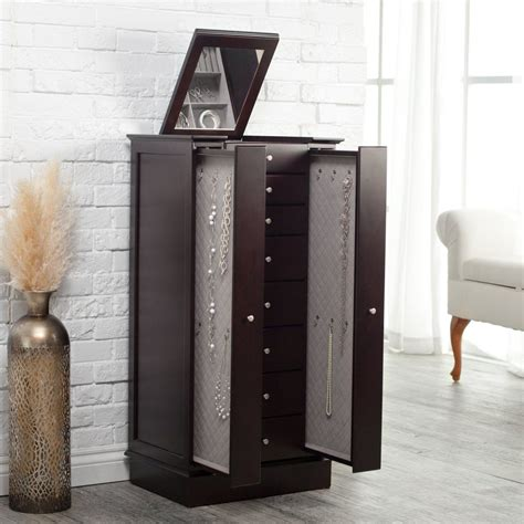 espresso jewelry armoire exquisite jewelry armoire with quilted pullout storage