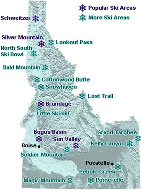 oregon ski resorts map idaho map of downhill ski areas go northwest a travel guide