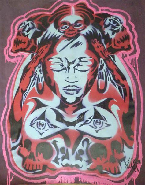 maskdonnaredsoftblue aerosol fantasie stencil modern