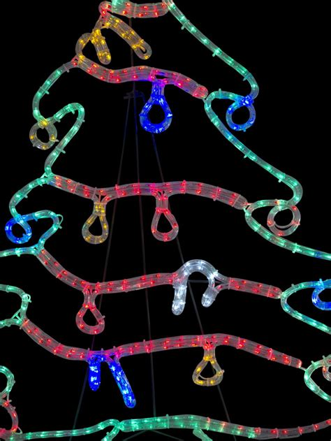 christmas tree with decorations led rope light silhouette