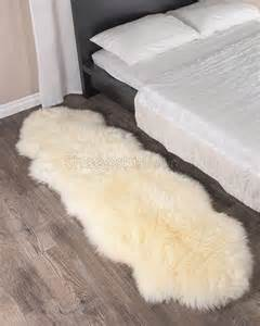 ivory white sheepskin rug 2 pelt 2x6 ft