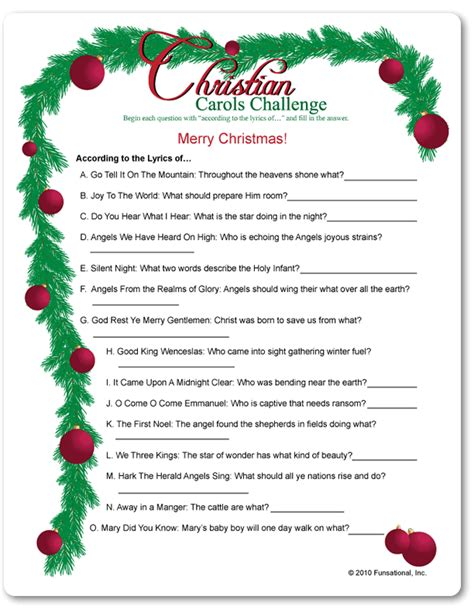 free printable christmas christian games printable christian carols challenge funsational com