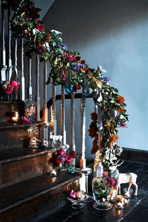 decorating ideas lovely images of colorful baubles bamboo sticks 37 beautiful christmas staircase d 233 cor ideas to try digsdigs