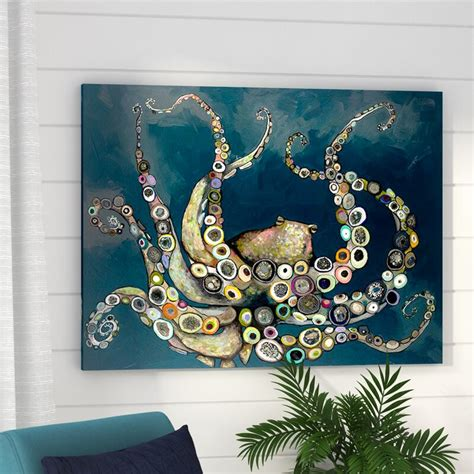 beachcrest home octopus   navy blue sea framed