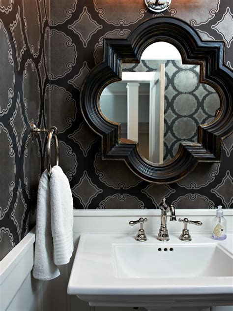 black and silver bathroom wallpaper powder rooms hgtv