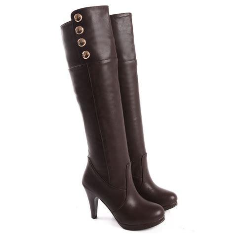brown high heel knee high boots brand new sales black brown high heels thigh