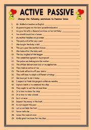 Active And Passive Voice Worksheets by Teaching Worksheets Passive Voice