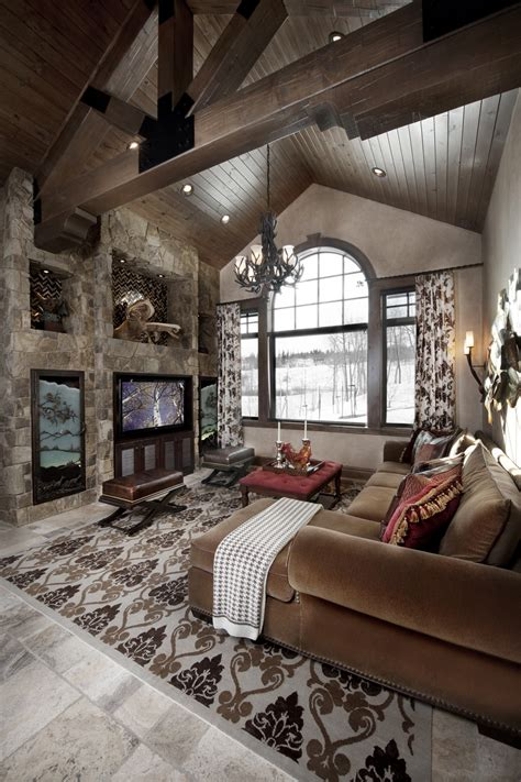 mountain home interior design ideas rustic great room with cathedral ceiling greatrooms
