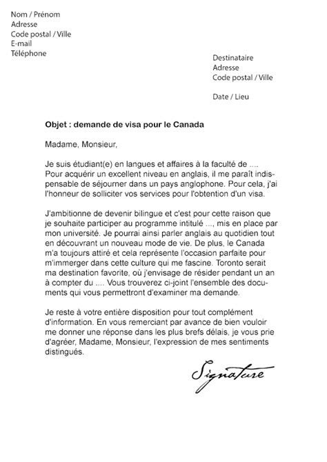 Modele Lettre De Motivation Visa Lettre De Demande De Visa Pour Le Canada Mod 232 Le De Lettre