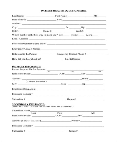 Sle Health Questionnaire Form 10 Free Documents In Word Pdf Health Questionnaire Template