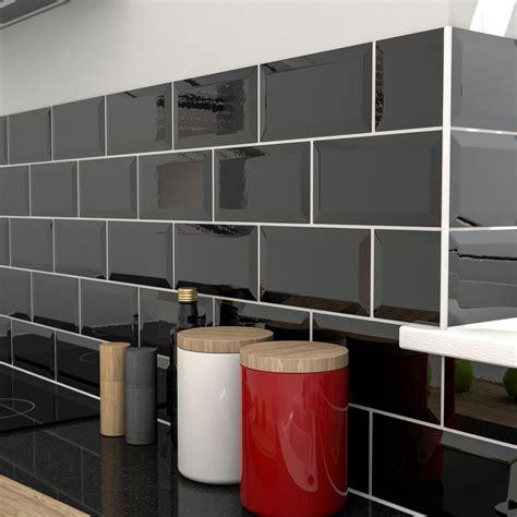 trentie black gloss ceramic wall tile pack