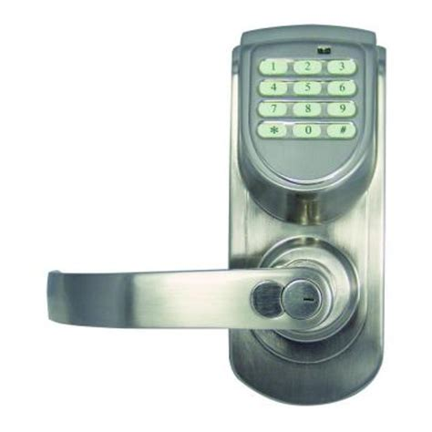 design house satin nickel electronic keypad entry lever