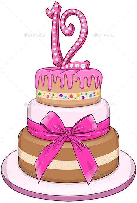 12 Happy Birthday Cake Vector Images Happy Birthday Cake | pink bat miztvah cake for 12th birthday 12th birthday