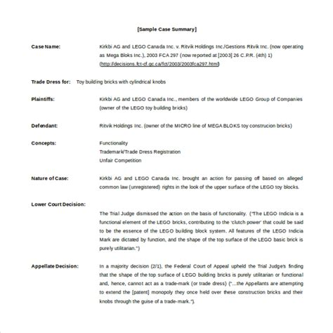 case summary template business case template 37 business