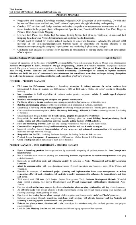 product management resume exles dipal panchal product manager resume