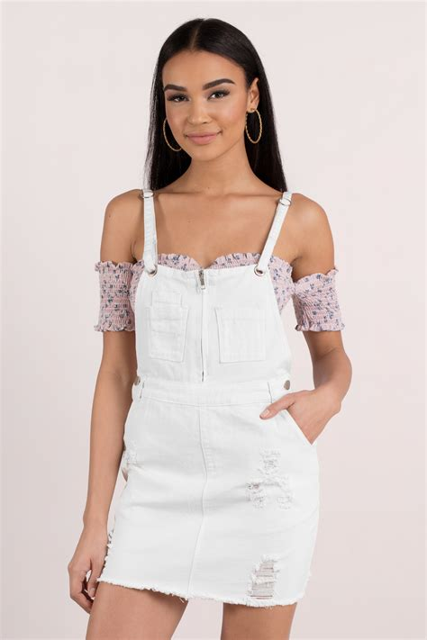 White Overall Dress white casual dress overall dress white denim pinafore