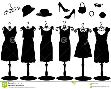 womens clothes accessories silhouette stock illustration