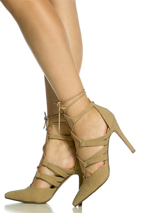 taupe color heels taupe faux suede wrap around lace up heels cicihot heel