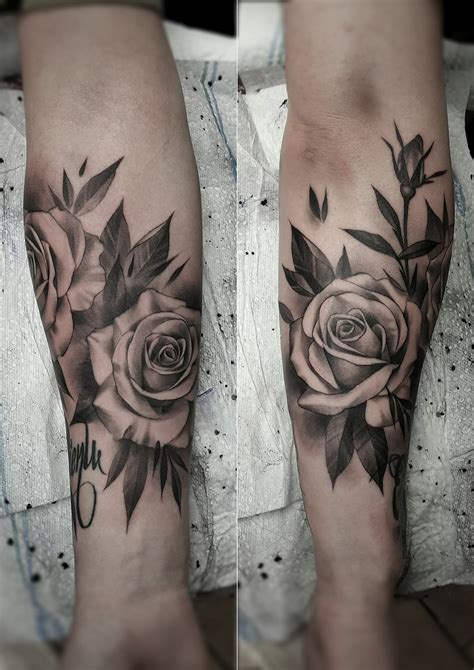 grey rose tattoos black and gray artist janissvars