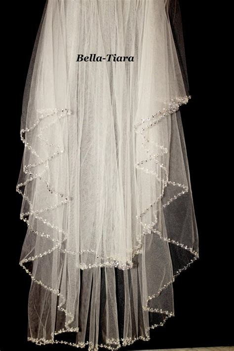 beaded veil beaded edge wedding veil two tier pearl