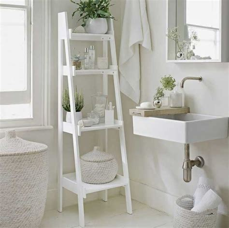 bathroom ladder shelf white ideas home interior exterior