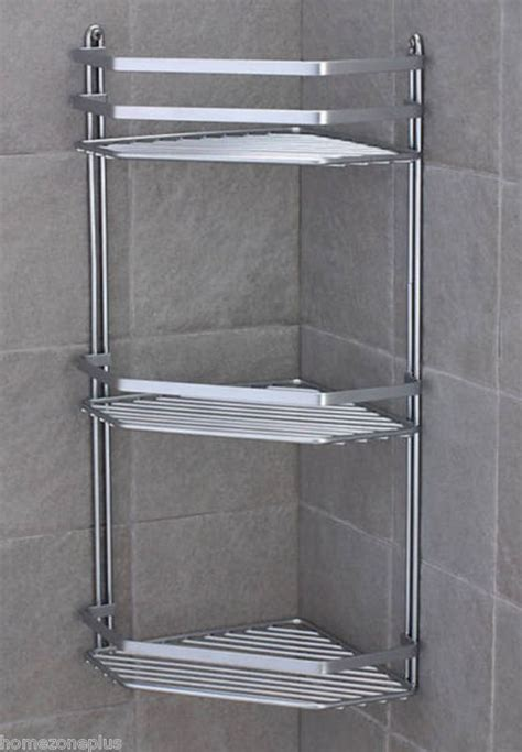 Chrome Shower Shelf by Satina Chrome Corner Shower Caddy Shelf Basket Ebay