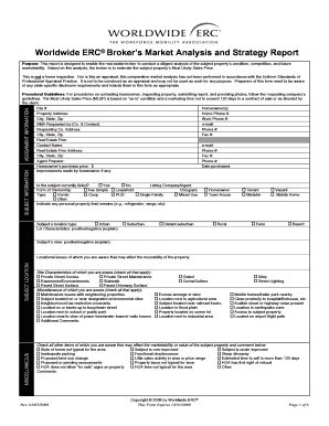 Erc Bma Template Erc Broker Market Analysis Form Fill Online Printable Fillable Blank Pdffiller
