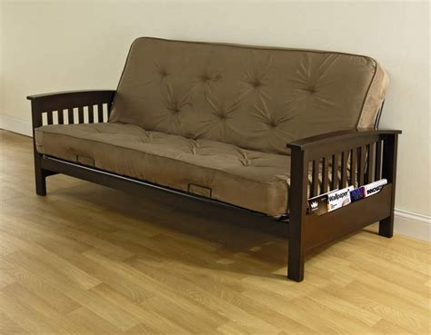 futon with matress essential home heritage magazine rack futon with 6 quot coil