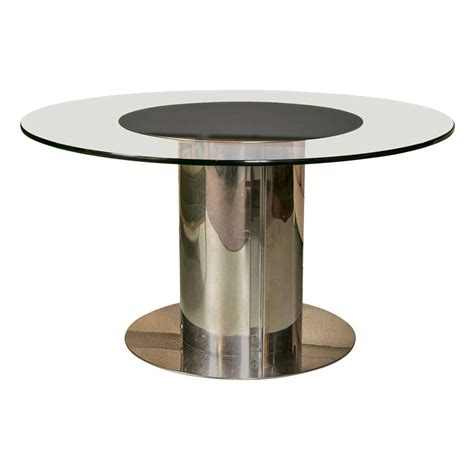 Chrome Dining Table 1980s Chrome And Glass Dining Table For Sale At 1stdibs