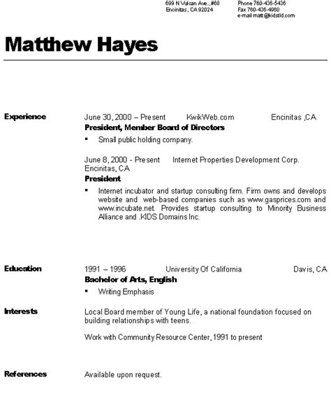 resume availability section sle resumes references available upon request search