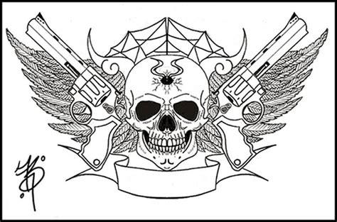 skull gun tattoo designs 22 simple sketches gangsta tattoos drawing golfian