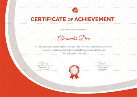 badminton certificate design template in word psd