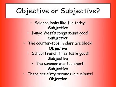 subjective and objective statements ppt monty python and the scientific method powerpoint