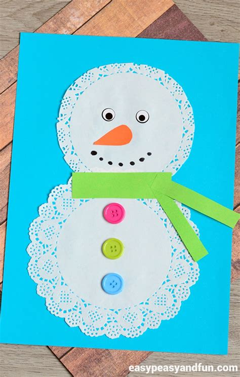 crafts snowman doily snowman craft easy peasy and