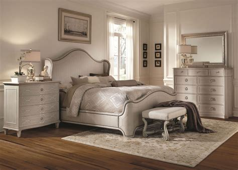 chateaux grey upholstered shelter bedroom set from