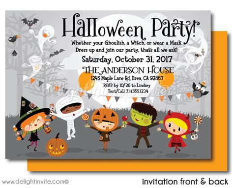 kids halloween birthday invitations kid friendly halloween party invitations printed