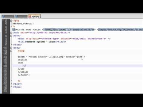 php tutorial user login php tutorial make a member system user login 1 3