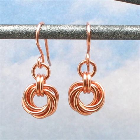 Handmade Copper Earrings - copper earrings mobius flower chain mail chain maille