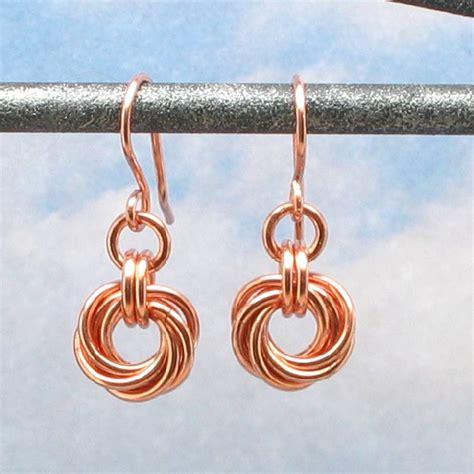 Handmade Copper Earrings - copper earrings mobius flower chain mail chain maille