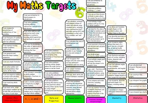 printable maths targets 11 best images about maths new curriculum on pinterest