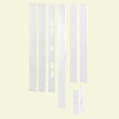 white powder coated door jamb reinforcing and repair kit u