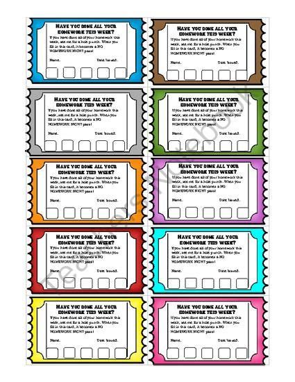 bathroom punch pass card template homework reward punch cards an individual student