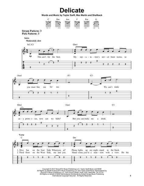 taylor swift delicate lyrics and chords delicate by taylor swift easy guitar tab guitar instructor