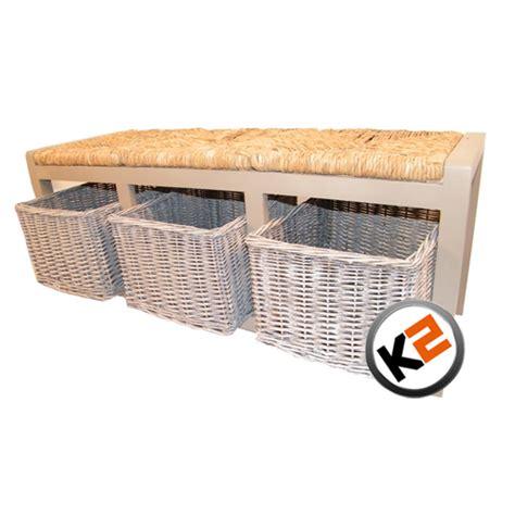 rattan storage bench 3 seater grey wooden wicker rattan basket drawers storage