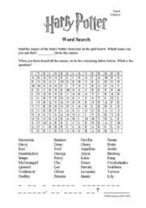 printable word search harry potter english worksheet harry potter word search