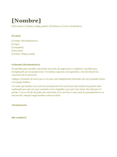 Modelo De Carta De Presentacion De Un Curriculum Vitae Carta De Presentaci 243 N Para Cv Verde Office Templates