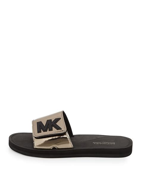 michael kors sport shoes lyst michael michael kors mk sport slide sandals in metallic