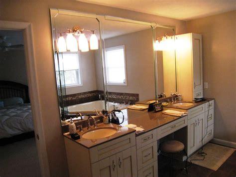marvelous Bathroom Mirror And Light Ideas #1: frameless-bathroom-mirrors-over-vanity.jpg