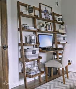 white leaning wall ladder desk diy projects