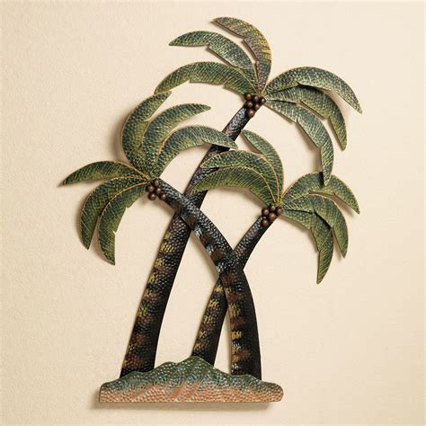 hanging art coco palm tree metal wall sculpture